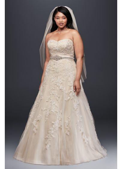 A Line Plus Size Wedding Dress with Lace Appliques
