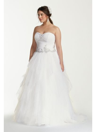Jewel Tiered Tulle Plus Size Wedding Dress