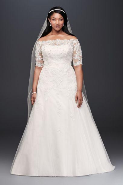 Jewel 3 4 Sleeve Illusion Plus Size Wedding Dress David S Bridal