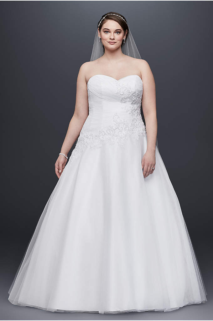 Strapless Tulle Plus Size Wedding Dress with Lace - Be the belle of the ball as you