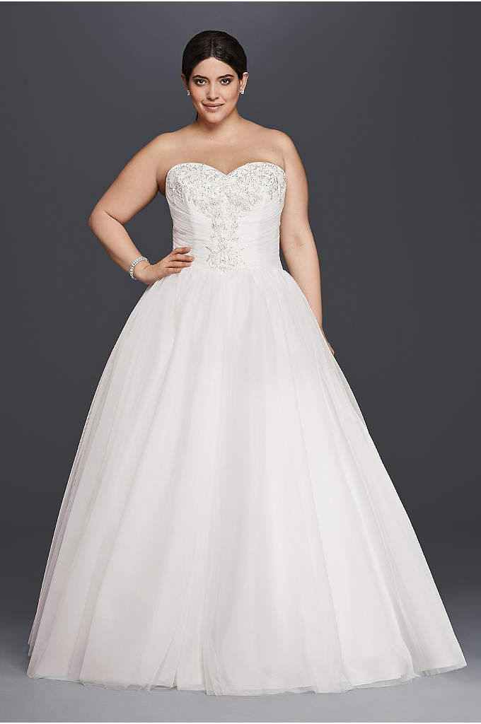 Plus Size Wedding Dress with Tulle Cascade - Fitting for a modern-day royal, this plus size