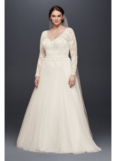 V-Neck Long Sleeve Wedding Dress With Low Back | David\'s Bridal