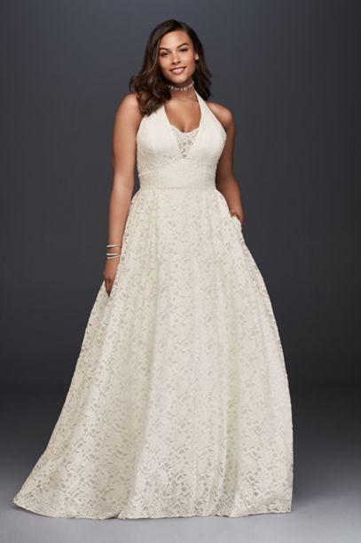 Plunging Halter Plus Size Ball Gown Wedding Dress David S Bridal