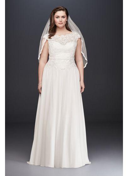 Lace Illusion and Chiffon Plus Size Wedding Dress | David\'s Bridal