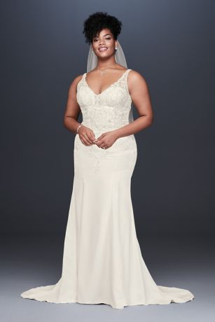 Crepe and Lace Plus Size Mermaid Wedding Dress - This crepe mermaid wedding dress follows your figure