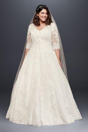 Organza Plus Size Wedding Dress with Long Topper | David's