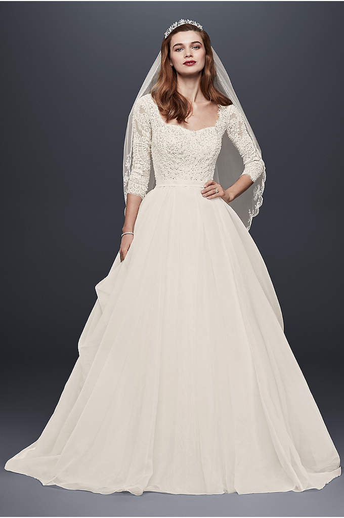 Oleg Cassini Organza Wedding Dress with 3/4 Sleeve - Made for the modern princess, this classic organza