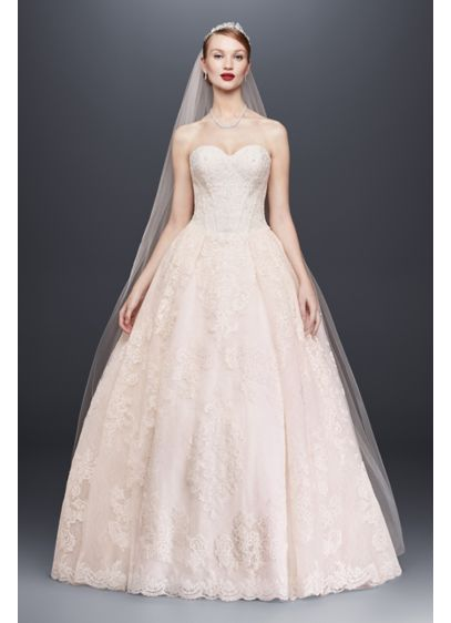 dfb4e5856720 Oleg Cassini Wedding Ball Gown with Beaded Lace | David's Bridal