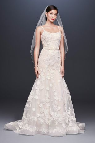 3D Floral Ballerina Bodice Trumpet Wedding Dress - Crafted of three kinds of metallic lace appliques,