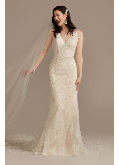Long Sheath Glamorous Wedding Dress - Oleg Cassini