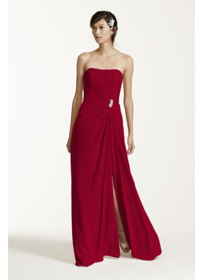 Long Black Soft & Flowy David's Bridal Bridesmaid Dress