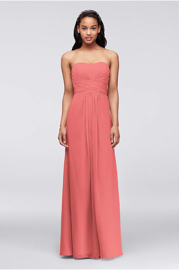 Extra Length Strapless Chiffon Dress with Pleating - A look and feel that your bridesmaids will