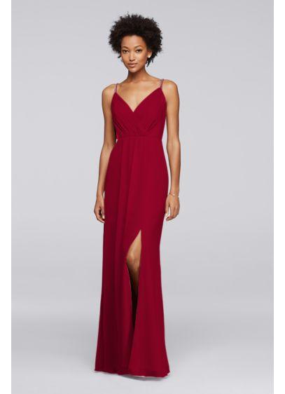 Long Pink Soft & Flowy David's Bridal Bridesmaid Dress
