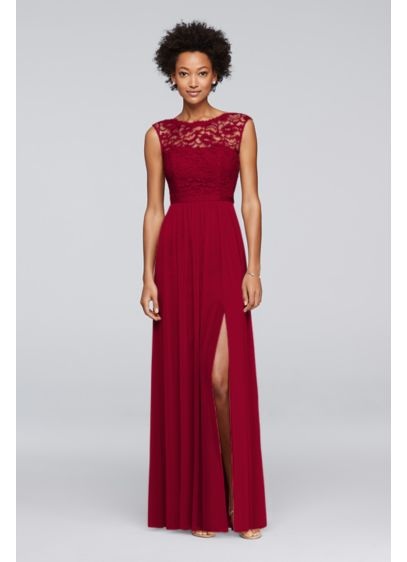 Long Bridesmaid Dress with Ribbon Waist - Looking for a little lace for your bridesmaids?