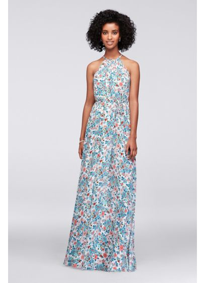 Halter Printed Georgette Bridesmaid Dress - Soft, flowy, and versatile, this printed georgette high-neck