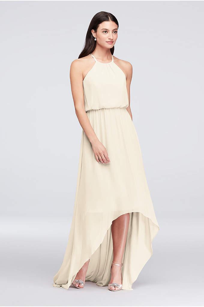 High-Low Chiffon High Neck Bridesmaid Dress