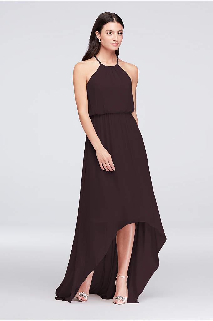 63030d65ff2e High-Low Chiffon High Neck Bridesmaid Dress