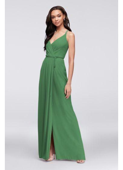 David's Bridal Green (Georgette Double-Strap Bridesmaid Wrap Dress)