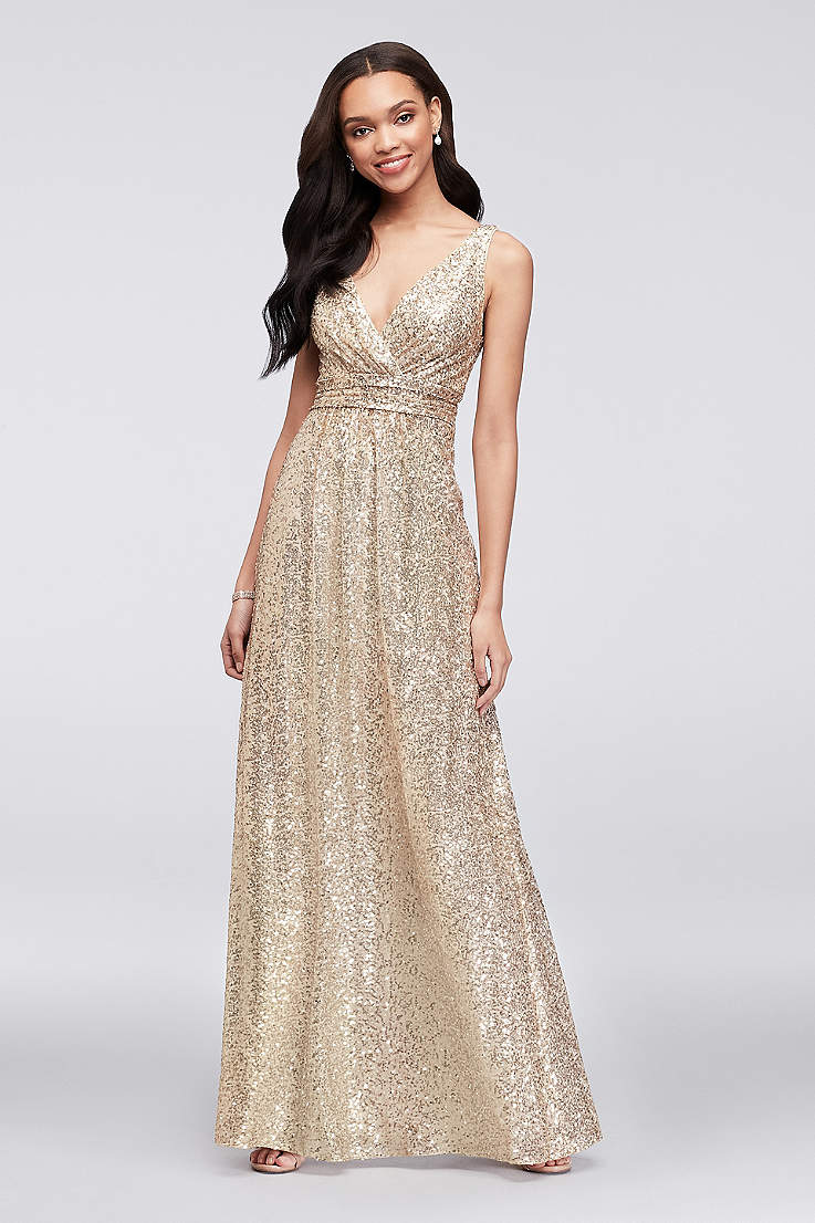 Fashion week Bridesmaid Gold dress pictures for lady