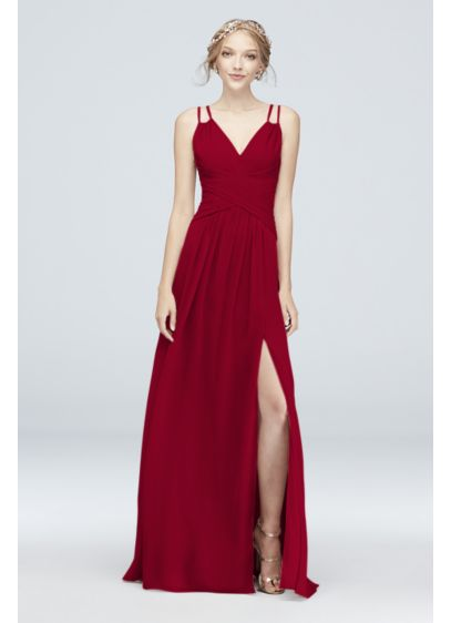 Plunge V-Neck Crinkle Chiffon Bridesmaid Dress - Feeling a little daring, 'maids? This long crinkle