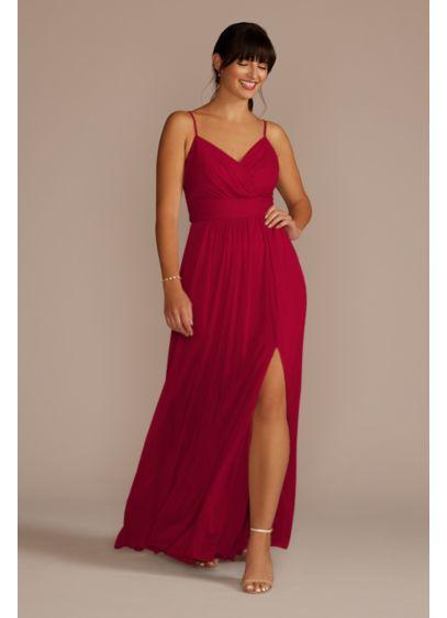 Ruched Waist Mesh Spaghetti Strap Bridesmaid Dress - The bodice of this long, soft mesh bridesmaid