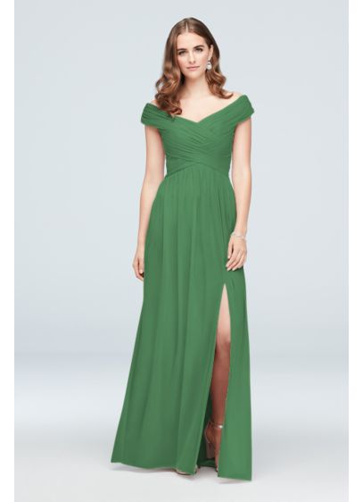Long Green Soft & Flowy David's Bridal Bridesmaid Dress