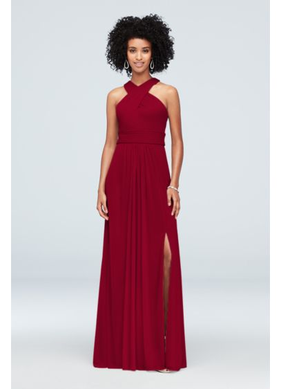 Mesh Crisscross High-Neck Bridesmaid Dress - A crisscross neckline and ruched waist give this