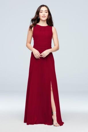 Soie Chiffon High-Neck Bridesmaid Dress - This luxurious soie chiffon bridesmaid dress features a