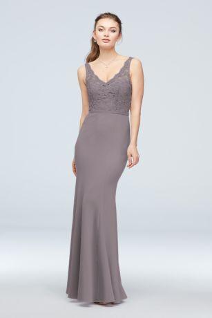 9dc0d81ab56b Soft & Flowy;Structured David's Bridal Long Bridesmaid Dress