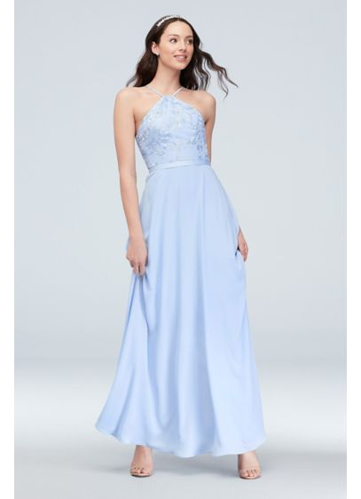 d7b3e7e4bc0 Embroidered Georgette Y-Neck Bridesmaid Dress