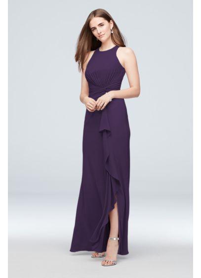 David's Bridal Purple (High-Neck Bridesmaid Dress with Twist)
