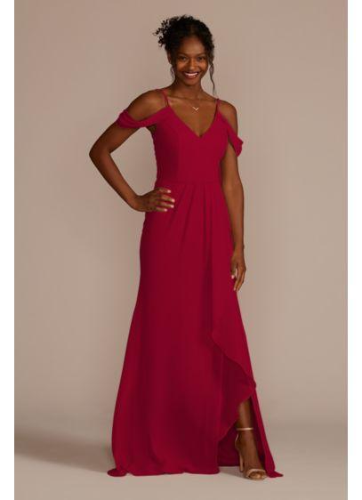Long Brown Soft & Flowy David's Bridal Bridesmaid Dress