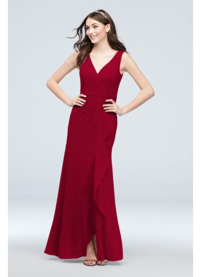 Chiffon V-Neck Tank Cascade Bridesmaid Dress - With a deep-V neckline and pleated waist, this