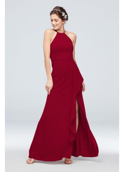 Chiffon High-Neck Bridesmaid Dress with Cascade - Sleek and refined, this high-neck chiffon bridesmaid dress