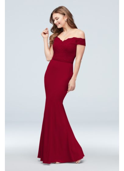 Off-the-Shoulder Lace and Crepe Bridesmaid Dress - Stand by the bride's side in this lovely