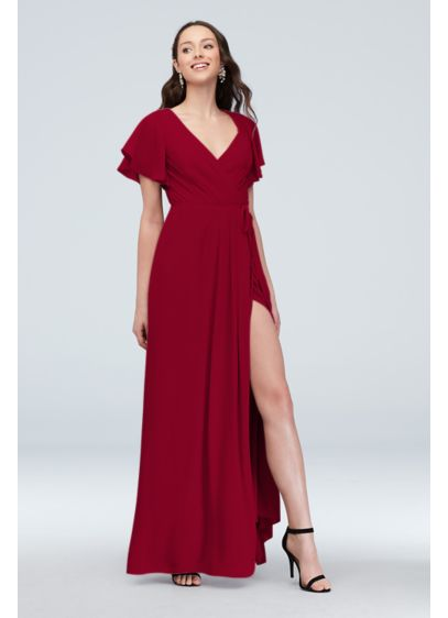 Georgette Flutter Sleeve Wrap Bridesmaid Dress - Flutter sleeves and elegant pleats wrap around the