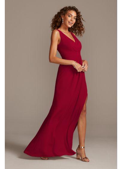 Long Pink David's Bridal Bridesmaid Dress