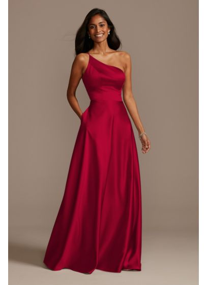 One Shoulder Satin A-Line Tall Bridesmaid Dress - This elegant satin bridesmaid dress offers a fresh