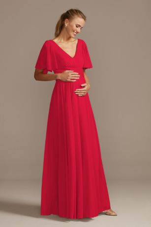 Long Sheath Short Sleeves Dress - David's Bridal
