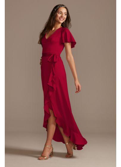 High Low Pink Structured David's Bridal Bridesmaid Dress