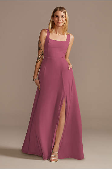 Squared Tank Lace Up Tall Chiffon Bridesmaid Dress