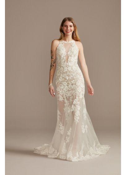 Illusion Keyhole Bodysuit Tall Wedding Dress - Feminine and romantic, this wedding dress is adorned