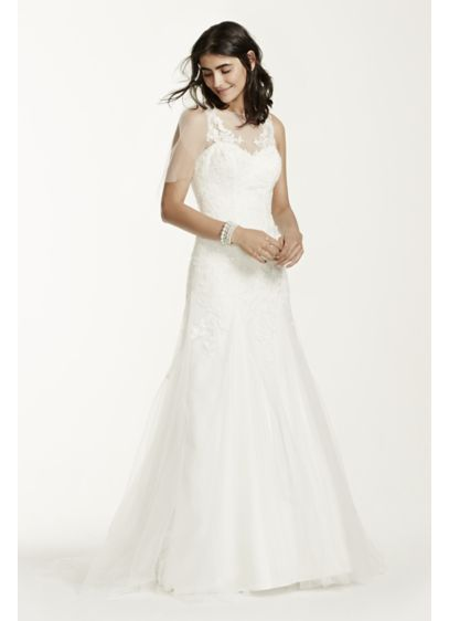 Lace Illusion Wedding Dress With Deep V Neckline 4xlmk3718 Long Sheath Formal David S Bridal Collection