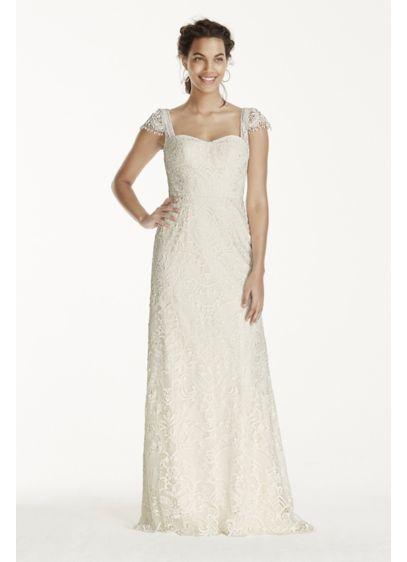 Melissa Sweet Sheath Cap Sleeve Lace Wedding Dress | David\'s Bridal