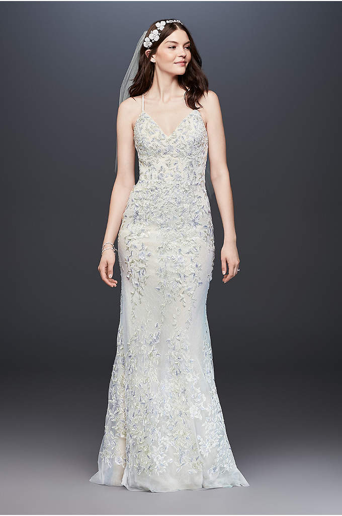 Embroidered and Beaded Sheath Lace Wedding Dress