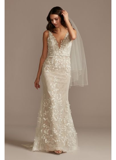 3D Leaves Applique Lace V-Neck Tall Wedding Dress - 3D leaves trail down this lace tank wedding