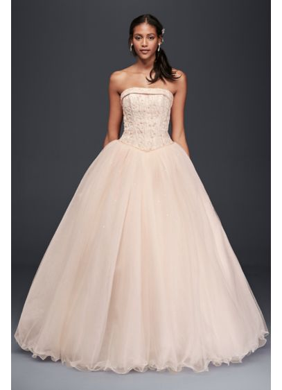 Extra Length Satin Beaded Bodice Wedding Dress - Channel your inner princess wearing this jaw-dropping strapless