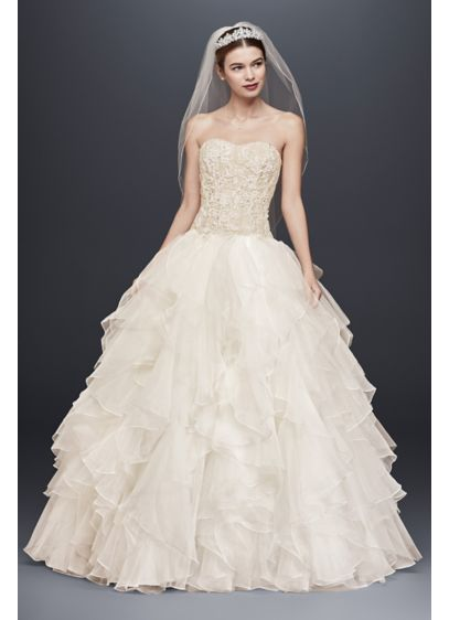 Beaded Lace and Organza Wedding Dress with Ruffles | David\'s Bridal
