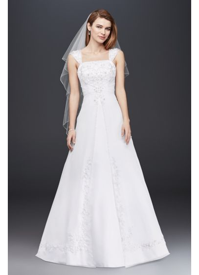 Extra Length Wedding Dress with Removable Sleeves - Designed with elegance in mind, this satin A-line