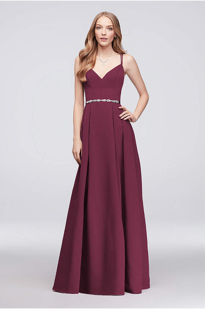 Long Faille Bridesmaid Ball Gown with Jewel Sash - Double spaghetti straps and a V-neckline top this